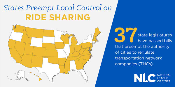 States Preempt Local Control on Ride Sharing